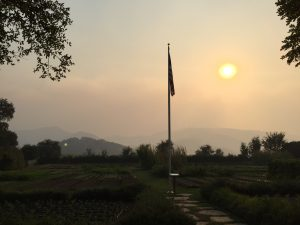 Smoky sunset over The French Laundry Garden & Mayacamas. #Napafire